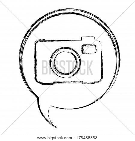 blurred contour dialogue box with silhouette tech digital camera vector illustration