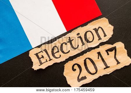 Elections in France. Election 2017 inscription on torn paper sheet. election concept