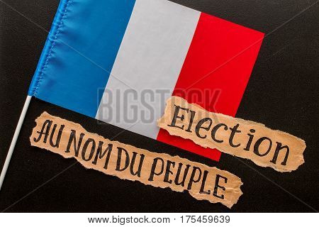 Elections in France. Election inscription on torn paper sheet. Voting election concept