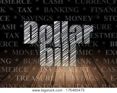 Banking concept: Glowing text Dollar Bill in grunge dark room with Wooden Floor, black background with  Tag Cloud