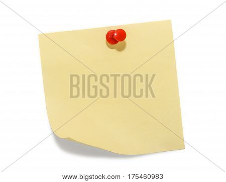 Blank yellow stick note isolated on white background. Removable self-stick notes.