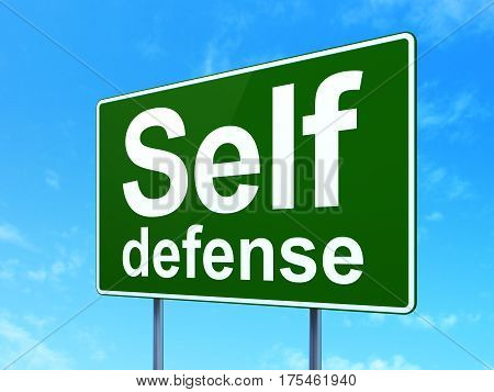 Safety concept: Self Defense on green road highway sign, clear blue sky background, 3D rendering