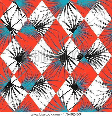 Palm leaves and red harlequin rhombs seamless vector pattern on white background. Tropical jungle nature leaf.
