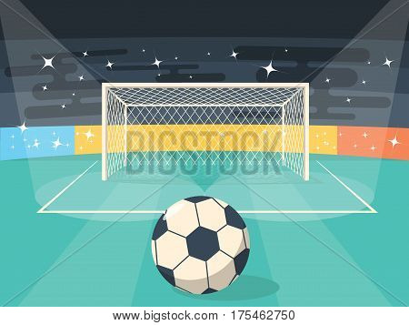 Cartoon Football Soccer Field Flat Design Style for Poster Card. Vector illustration
