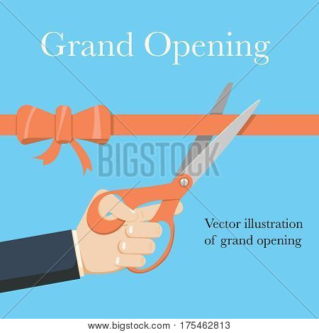 Grand opening concept. Businessman holding pair of scissors in hand cuts red tape with bow. Vector illustration flat design.Isolated on background.Ceremony, celebration, presentation and event.