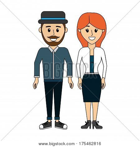 couple man with hat and his wife, vector illustraction design