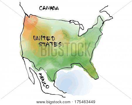 USA map watercolor