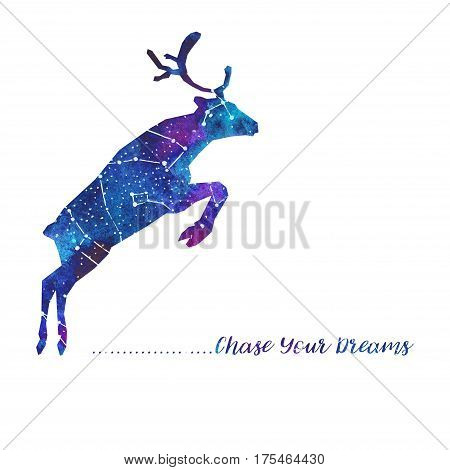 Silhouette of deer. Starry sky with different constellations. Hand draw watercolor. Card. Chase Your dreams.