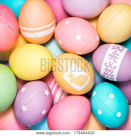 Group of Brightly colored Easter eggs background