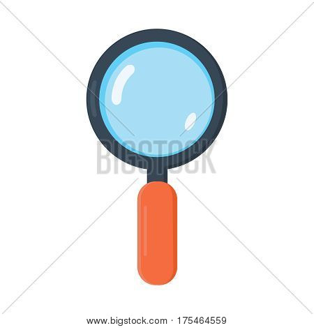 Magnifying Glass, Isolated On White Background, Vector Illustration. Flat Design vector icon.