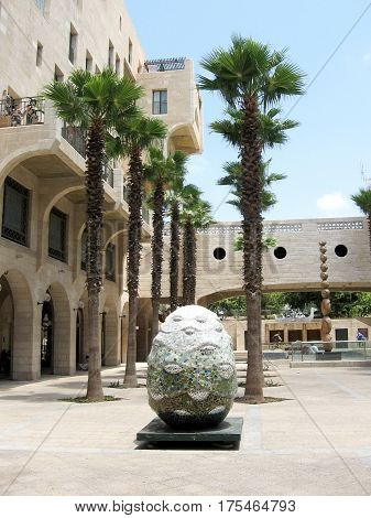 Sculpture and palm trees on Yerushalayim Avenue in Jaffa Israel