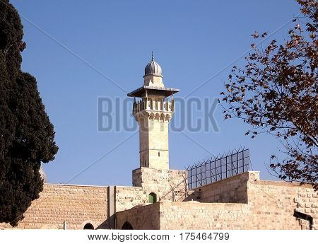 Minaret of Al-Aqsa Mosque in Jerusalem in Israel