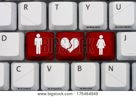 Dating on the internet gone wrong A close-up of a keyboard with red highlighted text with woman and man symbol and broken heart 3D Illustration