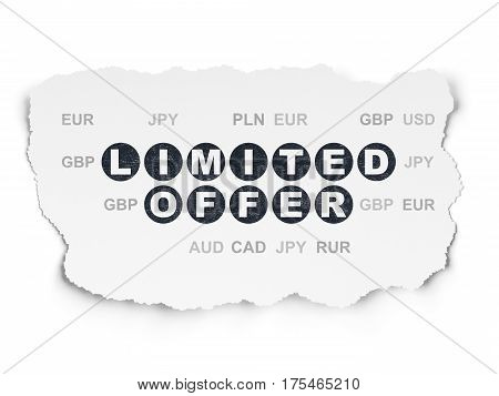Finance concept: Painted black text Limited Offer on Torn Paper background with  Currency