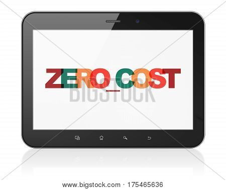 Business concept: Tablet Computer with Painted multicolor text Zero cost on display, 3D rendering