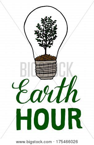 Earth Hour hand drawn sketch isolated on white