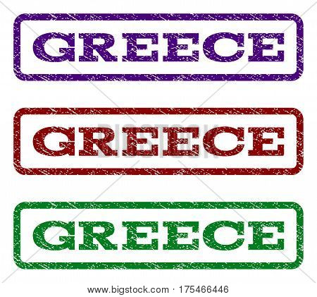 Greece watermark stamp. Text tag inside rounded rectangle frame with grunge design style. Vector variants are indigo blue, red, green ink colors. Rubber seal stamp with scratched texture.