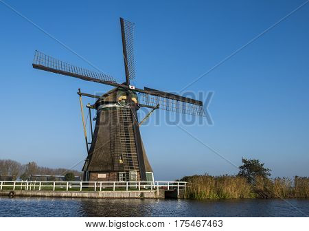 Windmill (achtkante mill) at Groot-Ammers province Zuid-Holland in the Netherlands