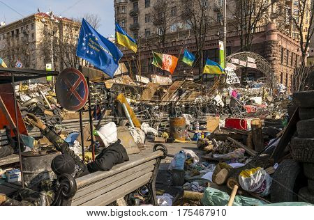 Kiev Ukraine - February 26 2014: Barricade in Kiev on Maidan Square during the revolution.