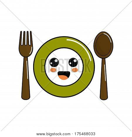 kawaii plate with spoon and fork icon, vector illustraction design