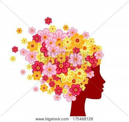 Woman profile with flowers on head isolated on white