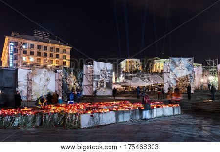 Kiev Ukraine - February 19 2017: Commemoration of Maidan revolution in Kiev with big photos of the fallen soldiers of the war.