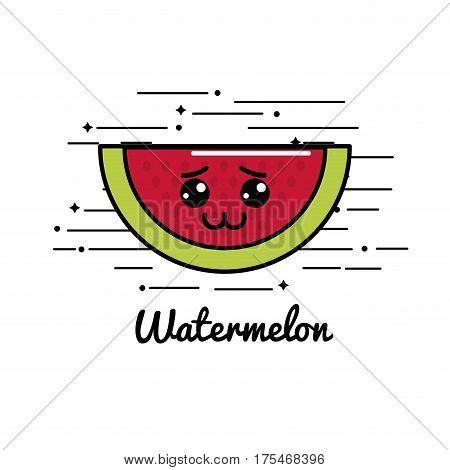 emblem kawaii sad watermelon icon, vector illustraction design