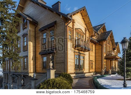 Kiev Ukraine - February 19 2017: Wooden Palace of Viktor Janoekovytsj in Kiev at the Dnjepr in the Ukraine.