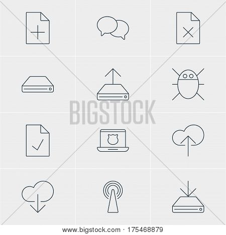 Vector Illustration Of 12 Web Icons. Editable Pack Of Data Upload, Information Load, Hard Drive Disk And Other Elements.