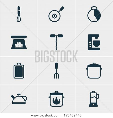 Vector Illustration Of 12 Kitchenware Icons. Editable Pack Of Stewpot, Teakettle, Skillet And Other Elements.
