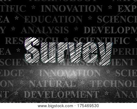Science concept: Glowing text Survey in grunge dark room with Dirty Floor, black background with  Tag Cloud