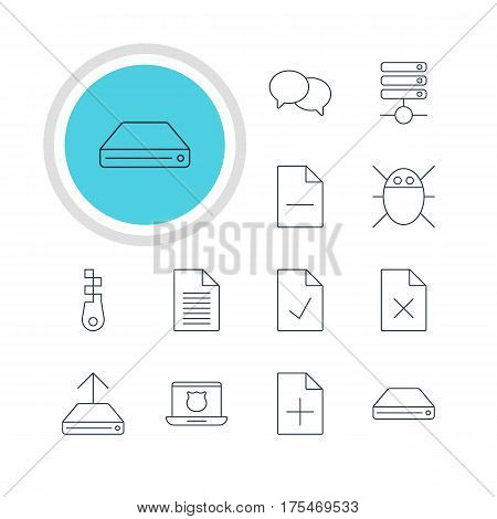 Vector Illustration Of 12 Web Icons. Editable Pack Of Fastener, Talking, Hard Drive Disk And Other Elements.