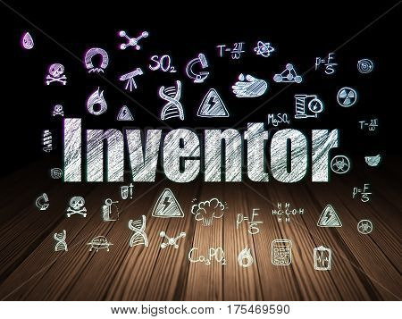 Science concept: Glowing text Inventor,  Hand Drawn Science Icons in grunge dark room with Wooden Floor, black background