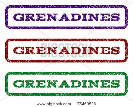 Grenadines watermark stamp. Text caption inside rounded rectangle frame with grunge design style. Vector variants are indigo blue, red, green ink colors. Rubber seal stamp with dust texture.