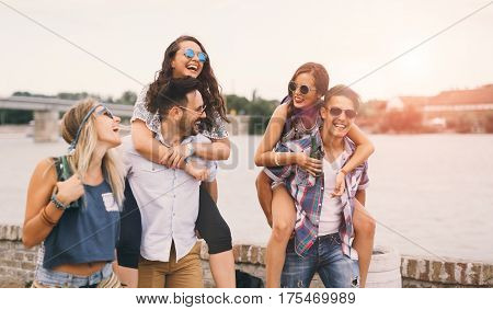 Happy Young People Attending Festivals At Summer