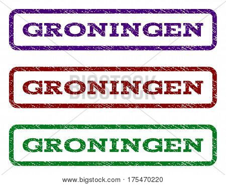 Groningen watermark stamp. Text tag inside rounded rectangle frame with grunge design style. Vector variants are indigo blue, red, green ink colors. Rubber seal stamp with dust texture.