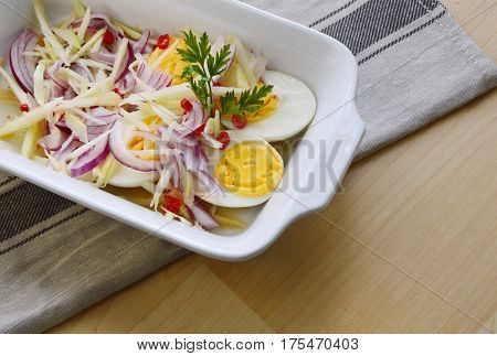Boiled egg with Mango salad Thai style