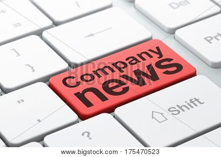 News concept: computer keyboard with word Company News, selected focus on enter button background, 3D rendering