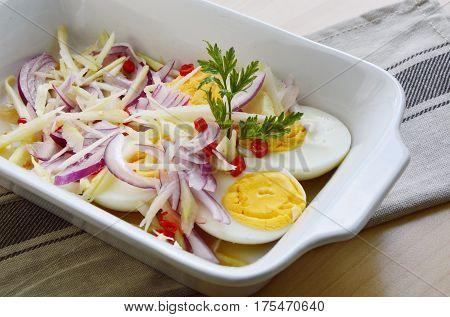 Boiled egg with Mango salad Thai style