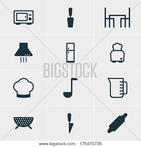 Vector Illustration Of 12 Cooking Icons. Editable Pack Of Dinner Table, Carafe, Refrigerator And Other Elements.