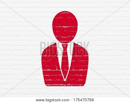 News concept: Painted red Business Man icon on White Brick wall background