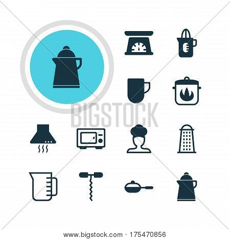Vector Illustration Of 12 Cooking Icons. Editable Pack Of Slicer, Carafe, Measuring Tool And Other Elements.
