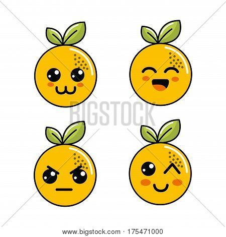 kawaii orange diferents faces icon, vector illustraction design
