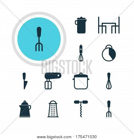 Vector Illustration Of 12 Restaurant Icons. Editable Pack Of Dinner Table, Jug, Kitchen Dagger And Other Elements.