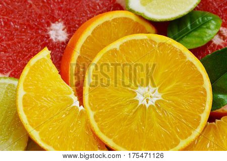 Many orange different type with full frame