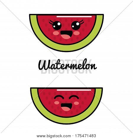 emblem kawaii happy and scared watermelon icon, vector illustraction design
