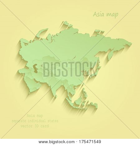 Asia map separate individual states yellow green vector