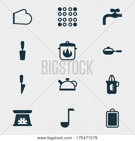 Vector Illustration Of 12 Restaurant Icons. Editable Pack Of Kitchen Dagger, Stewpot, Cooker And Other Elements.