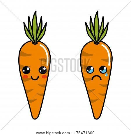 color kawaii happy and cry carrots icon, vector illustraction design