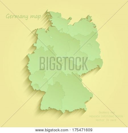 Germany map separate individual states yellow green vector
